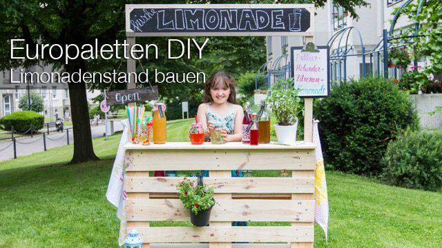 DIY: Heute zeigen wir euch, wie ihr aus einer Europalette und etwas Holz schnell und einfach einen Limonadenstand für Kinder selber bauen könnt.