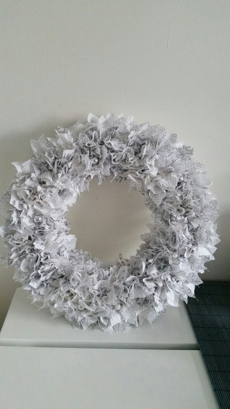 """12"""" Silver Scrappy Christmas Wreath with tiny stars & Baubles 2016"""