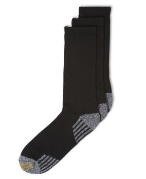 Gold Toe Socks, 3-Pack G Tech Sport Outlast Crew Socks - Black 10-13