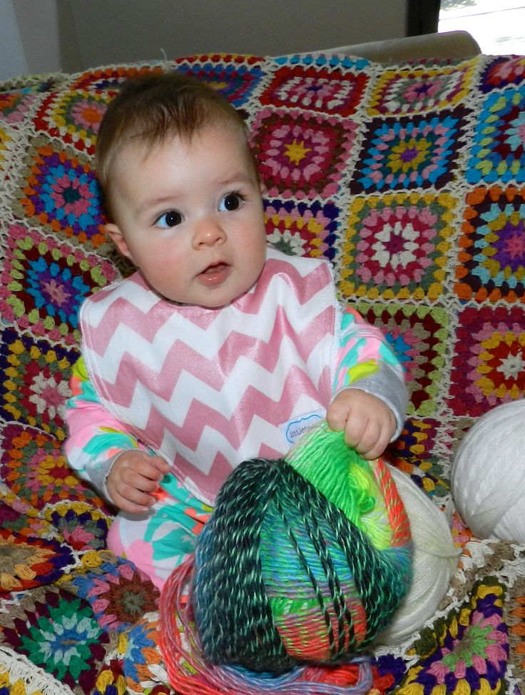Helping choose yarn for the next project...Littletreez bib in sparkle chevron print