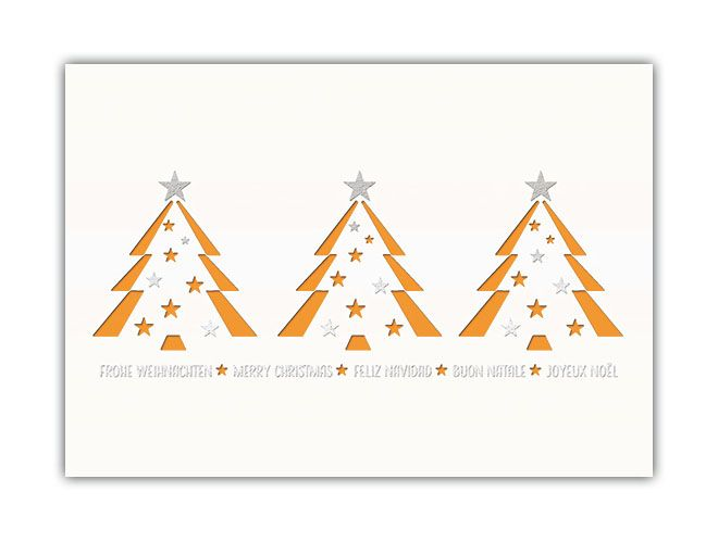 Spendenkarte In Weiss Mit Orangenem Einlegeblatt Und Baumen Mehrsprachig Karten Weihnachtskarten Und Farben Sortieren