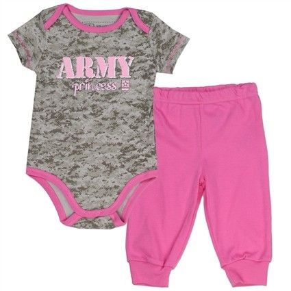 Grey Camo US Army Princess Onesie With Pink Trim With Pink Pants       Sizes 0/3 Months 3/6 Months 6/9 Months     Made From 60% Cotton 40% Polyester     Label US Army     Officially Licensed US Army Apparel Free Shipping #BabyClothes #USArmy