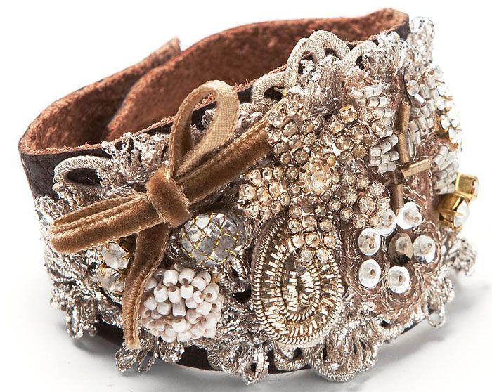 Rhinestone flower button, ivory seed bead button, velvet bow, hand colored leather Bracelet : el-elements-jill-schwartz-b29br-bracelet