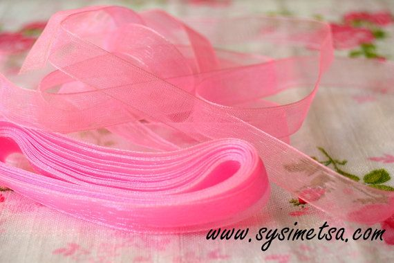 Pink Organza Ribbon 10mm 25 yards  Wedding by NamiSupplies www.taikalandia.com https://www.etsy.com/shop/NamiSupplies
