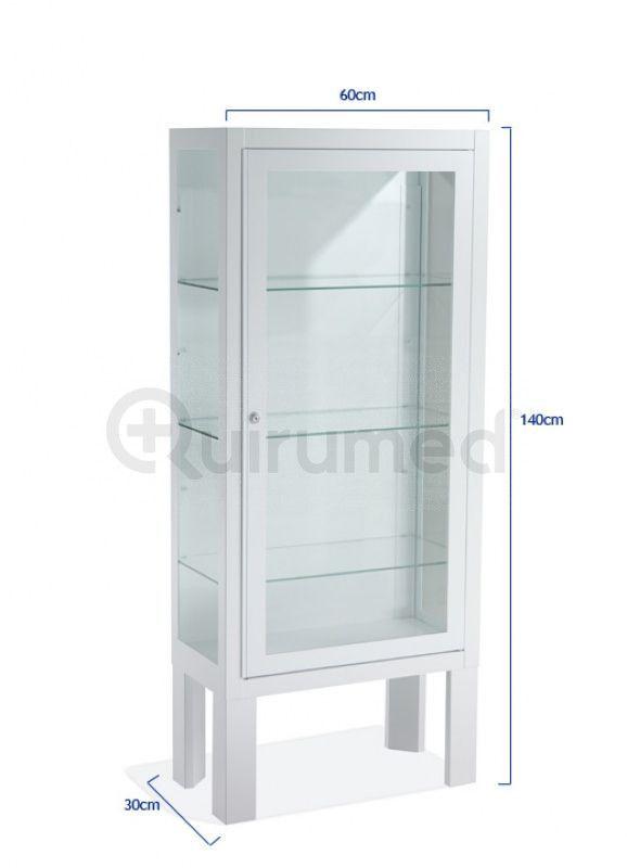 Vitrina pie, 1 puerta Blanca, 60x30x140cm | Vitrinas