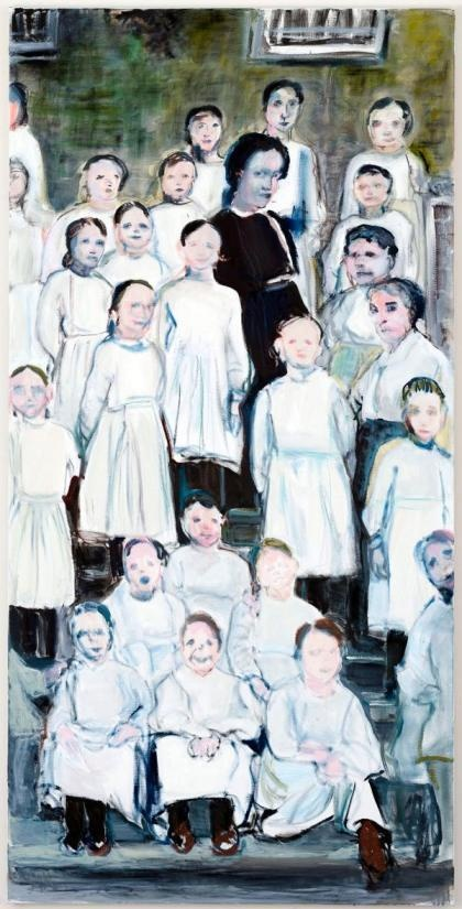 Marlene Dumas, Angels in Uniform, 2012, olio su tela, 200x100cm