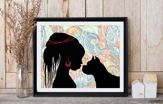 African art print African woman Dog print Ethnic decor Modern