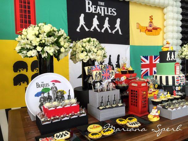 fesat beatles, beatles party, festa, festejar, decoração mesa, tema festa, festa adulta, festa banda
