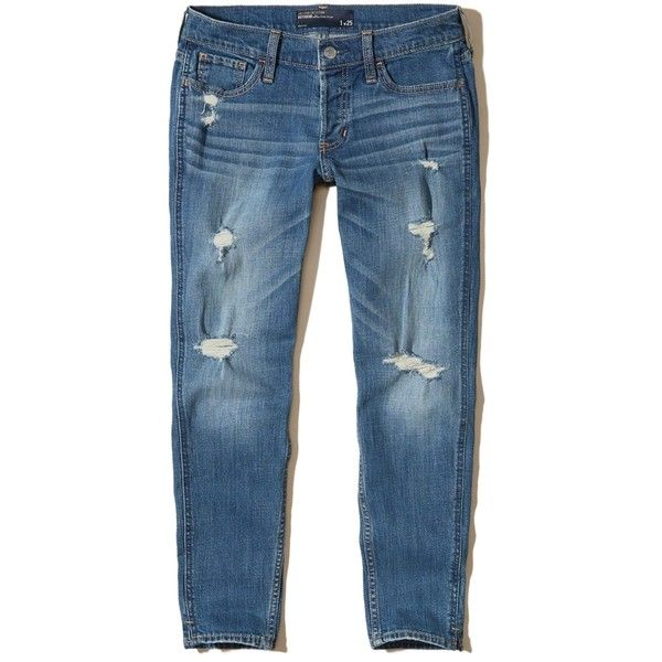 Hollister Ultra Low-Rise Slim Boyfriend Jeans ($35) ❤ liked on Polyvore featuring jeans, ripped medium wash, blue jeans, embroidered jeans, ripped blue jeans, slim fit jeans and low rise jeans