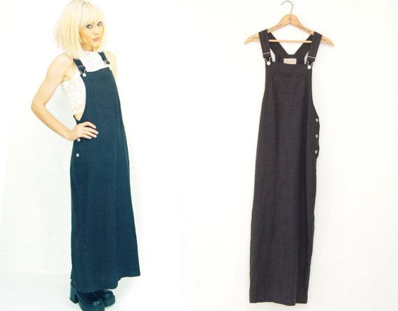Black Linen Overall Maxi Dress /  Long / Bib / by Idlized, $46.00