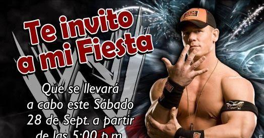 Invitación para cumpleaños con tema de la lucha libre de la WWE con el personaje de John Cena