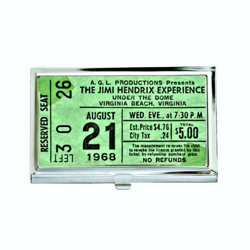 Vintage Jimi Hendrix Concert Ticket Business Card Case
