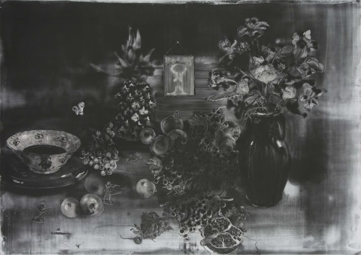 Christopher Cook 'Skirmish' graphite and oil on paper  72 x 102cm  2017