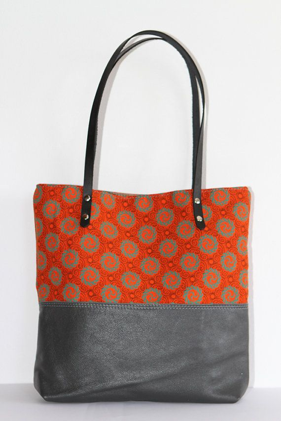 Grey Leather Tribal Tote Bag with Orange African Shweshwe, Christmas Gift for her    The Ana Tote
