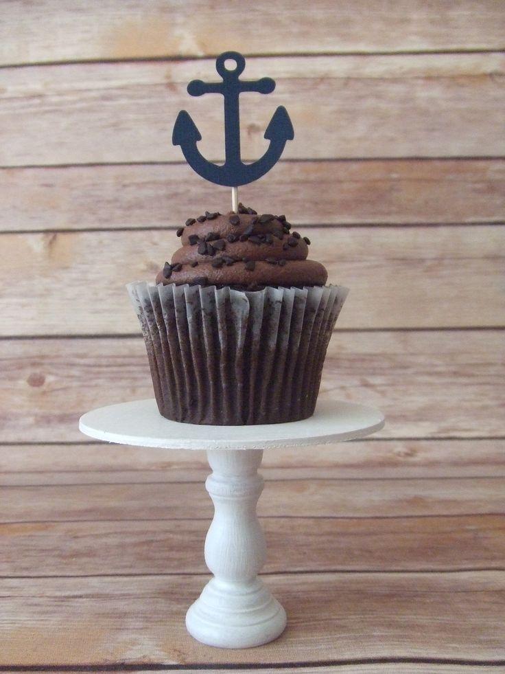 Navy Blue Anchor Cupcake Topper