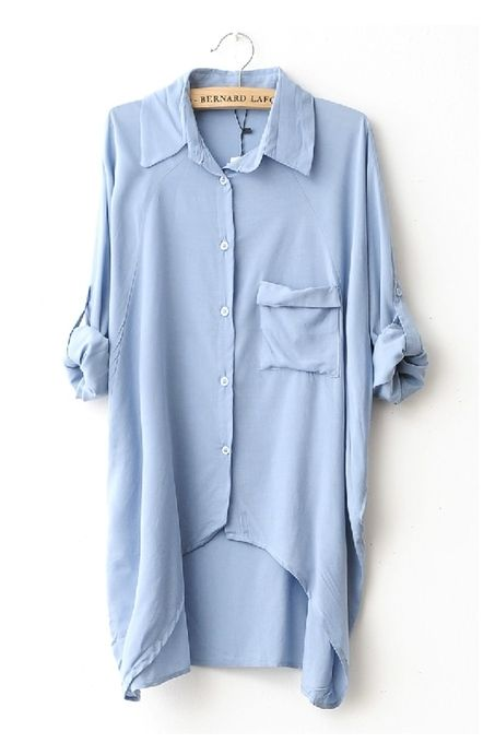 Casual Poloneck Bat Long Sleeve High-Low Shirt by Oasap