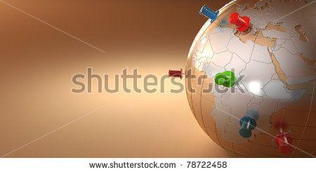 Earth and thumbtacks on orange background. 3d - stock photo