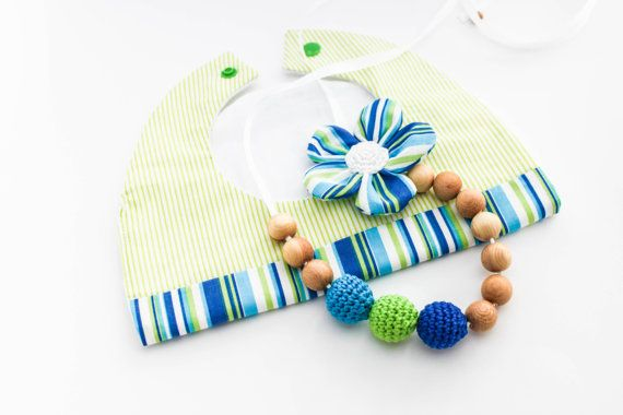 Green Blue Gift Set Nursing Necklace/Teething and by CasaDeGato, $30.00