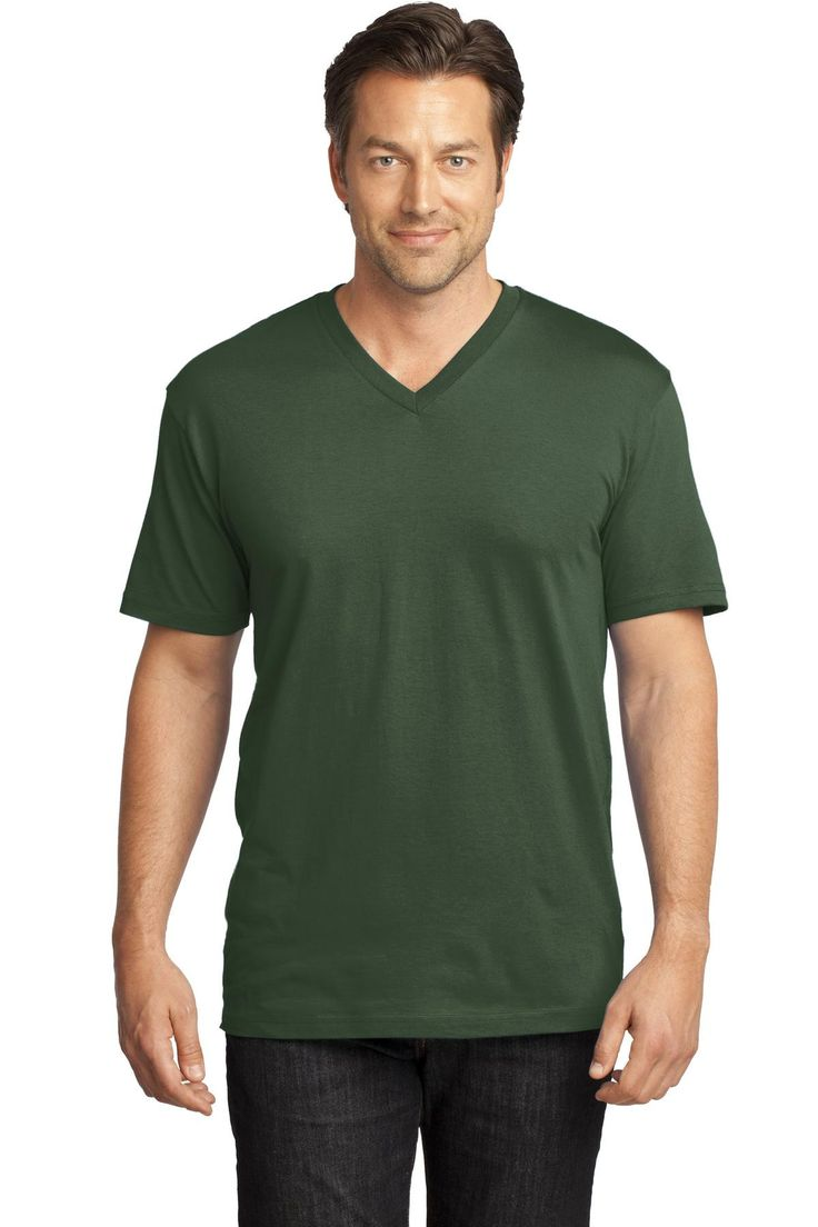 District Made Mens Perfect Weight V-Neck Tee DT1170 Thyme Green