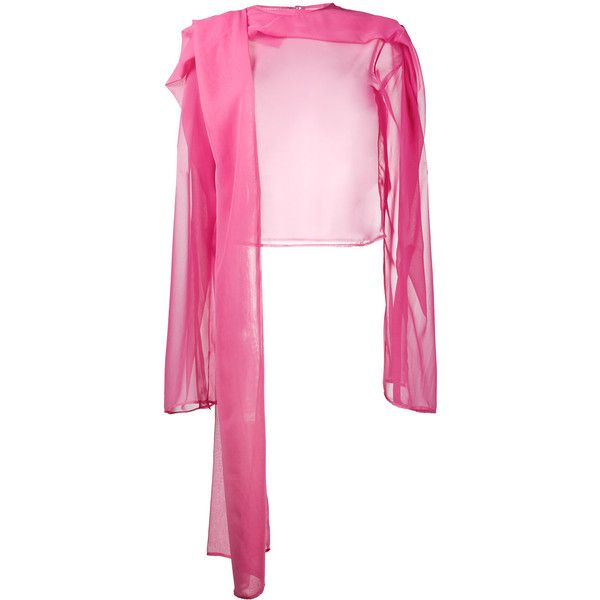Y / Project sheer draped long sleeve top ($688) ❤ liked on Polyvore featuring tops, pink, long sleeve drape top, pink long sleeve top, transparent top, drapey tops and long sleeve tops