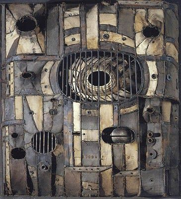 Lee Bontecou - fabric over welded steel framework - love her work!