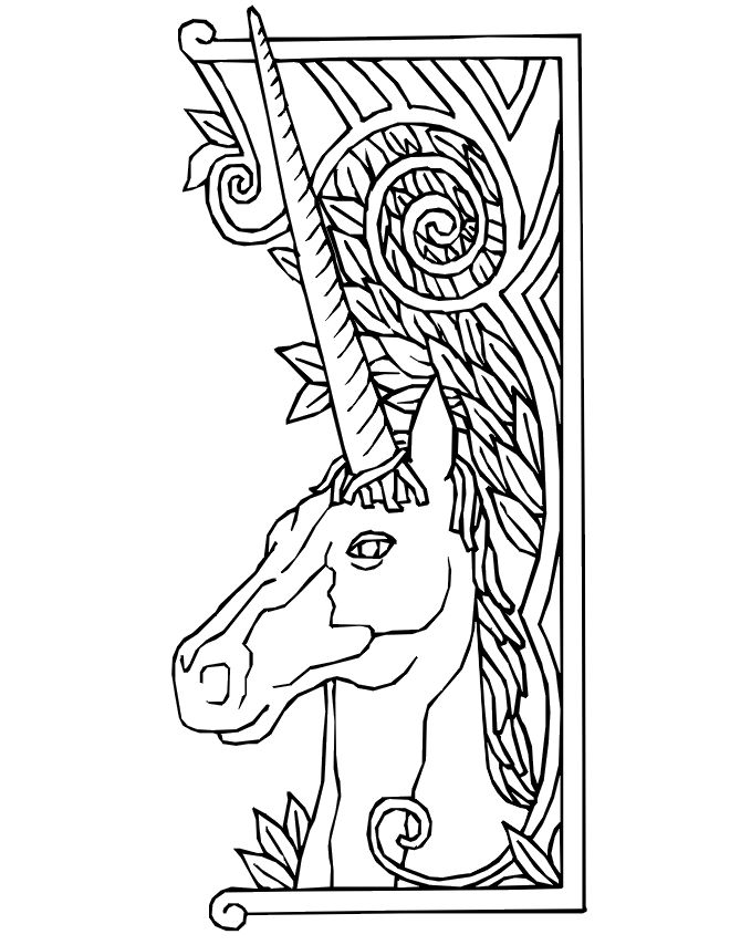 this printable unicorn coloring picture of a unicorn with a fancy border is a wonderful choice for children who are unicorn fans