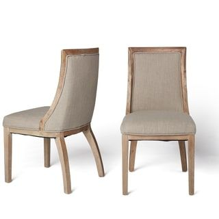 Park Avenue Beige Linen Dining Chairs (Set of 2) | Overstock.com Shopping - The Best Deals on Dining Chairs  $266