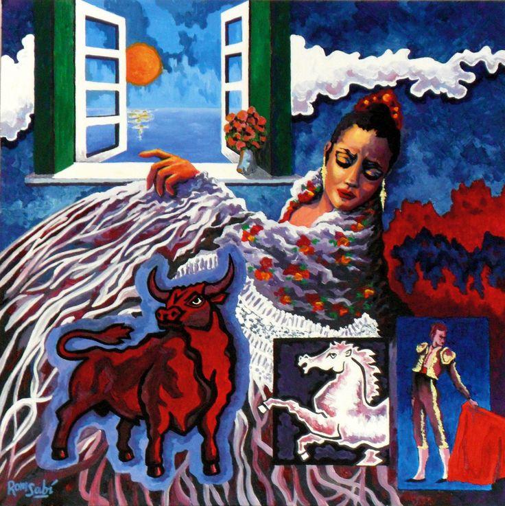# 362 La hermosura, la pena y el gozo,   Autor: RomSabi, acrilico sobre tabla madera, 60x60cm