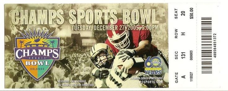 2005 Champs Sports Bowl Ticket stub Clemson Colorado....if you like this you can find many more college bowl game tickets for sale at www.everythingcollectibles.biz