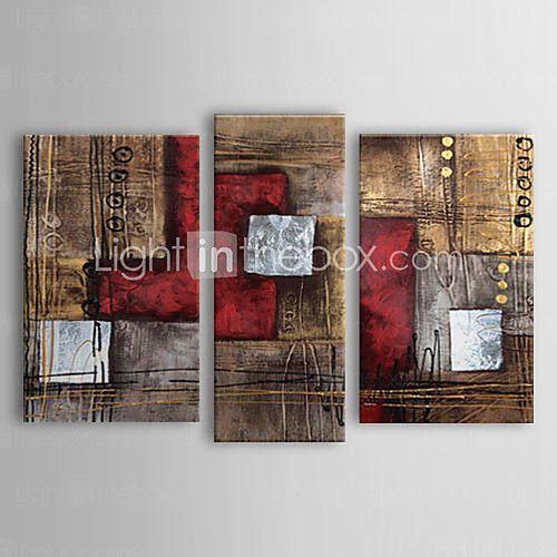 dipinti ad olio set di 3 moderni rossi astratti tele dipinte a mano marrone pronto da appendere - USD $105.06