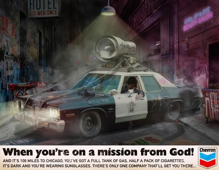 When You're On A Mission From God by JJ Adams #art #artist #JJAdams #bluesbrothers #jake #elmo #trilby #sunglasses #squadcar #policecar #missionfromgod