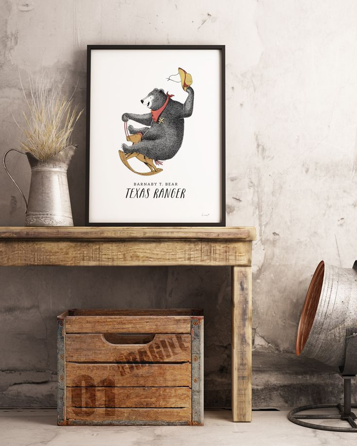 Barnaby T. Bear adorable wall art print for kids big and small   home decor ideas   vintage look   illustrations