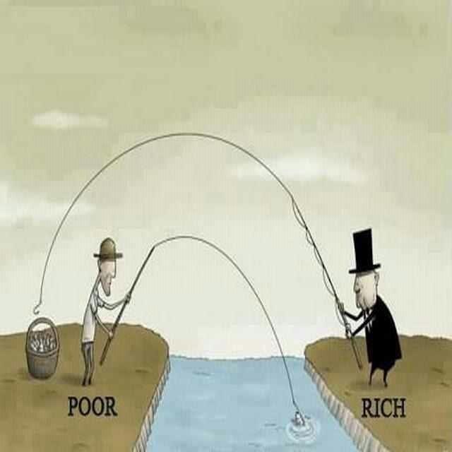 貧乏人と金持ちの釣り