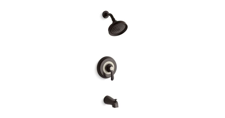 Kohler Fairfax® Rite-Temp® bath and shower valve trim with lever handle, slip-fit spout and 2.0 gpm showerhead