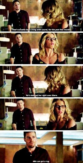 """Ra's stabbed her right over there"" - Oliver & Felicity #Arrow"