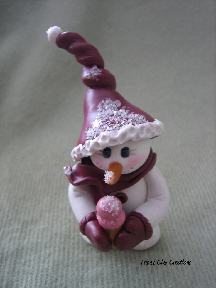 *POLYMER CLAY ~ Christmas Ornament, Polymer Clay, Snowgirl, Snowman ~ By Trina's Clay Creations