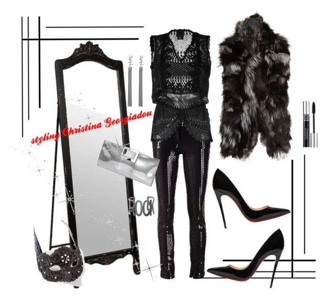Glam rocks! by christina-geo on Polyvore featuring Anna Sui, S.W.O.R.D., Vera Wang, Christian Louboutin, Roger Vivier, Yves Saint Laurent, Steve Madden, Christian Dior and Grandin Road
