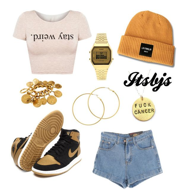 Yellow/Jordan1/Casio/Gold by itsbjs on Polyvore featuring polyvore, fashion, style, Chicnova Fashion, Topshop, Chanel and Melissa Odabash