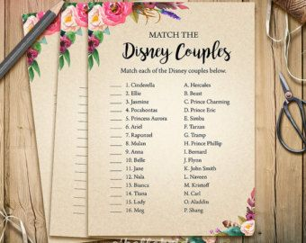 Disney Couples Match Game - Printable Boho Bridal Shower Love Song Game  - Bohemian Bridal Shower Party Game - Bachelorette Party Games 003