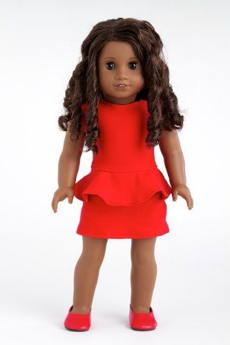 Lady in Red - Red cotton dress with matching red shoes - 18 Inch American Girl Doll Clothes  Price : $23.97 http://www.dreamworldcollections.com/Lady-Red-matching-American-Clothes/dp/B004OTNHBM