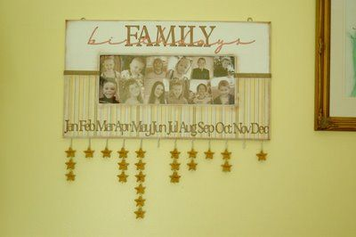 Family Birthday Calendar.  Great way to remember everybody's special day.