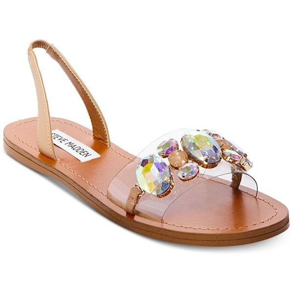 Steve Madden Women's Alice Embellished Flat Sandals (265 RON) ❤ liked on Polyvore featuring shoes, sandals, natural multi, chunky flat sandals, rhinestone flat sandals, decorating shoes, embellished flat sandals and embellished flat shoes