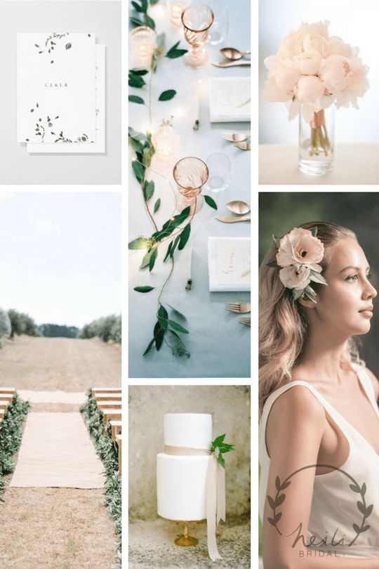 Pale pink minimal wedding aesthetic. Bride wears flower combs from Heili Bridal's Etsy.