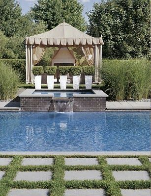 Love the patio squares with the grass in between...