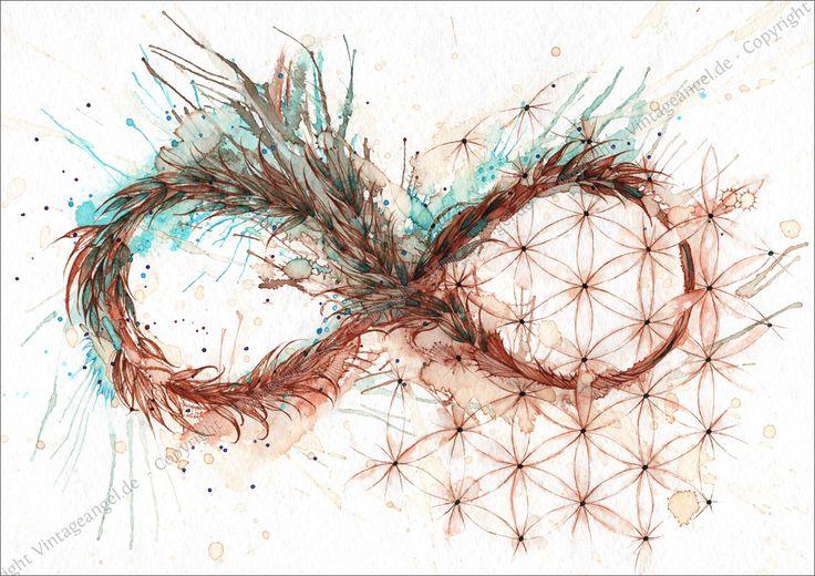 Liegende Acht, Unendlichkeit, mit Blume des Lebens, Symbolbild