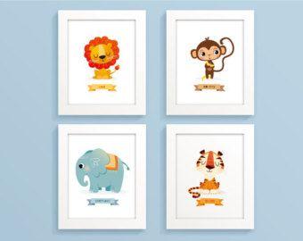 Animales del parque zoológico animales infantiles estampados Safari animales de Safari impresión animales selva set León mono elefante tigre para niños arte impresión cuarto de niños del bebé