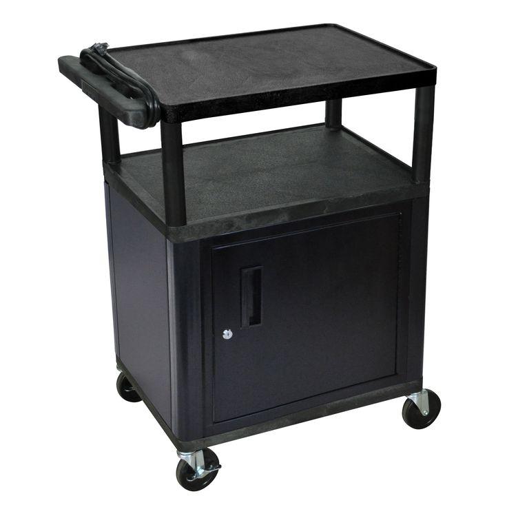 offex black mobile 3shelf adjustable storage av cart with locking storage cabinet electric