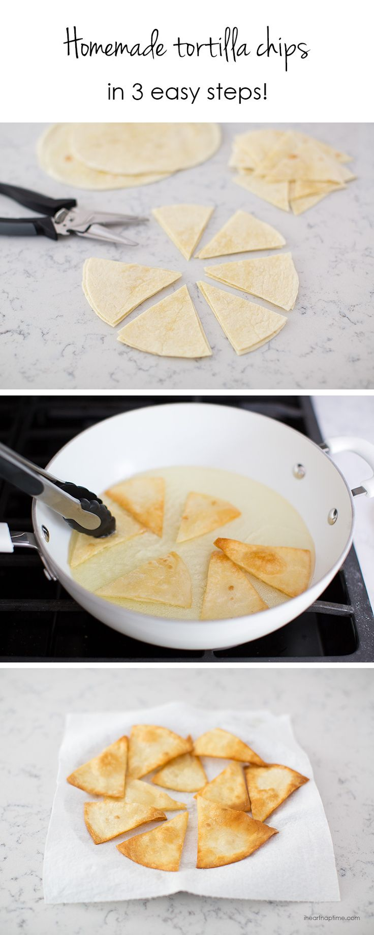 Homemade tortilla chips -3 different ways. So delicious and easier than you think to make!