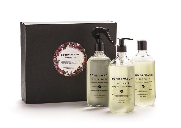 Christmas Pack 1 - Home Care Trio - $68.00 by Bondi Wash. Christmas Pack Home Care Trio by Bondi Wash. This is just the perfect gift. It comes beautifully packaged in a gift box, and the divinely scented and non-toxic contents actually make cleaning enjoyable: Tasmanian Pepper & Lavender Bench Spray, Sydney Peppermint & Rosemary Hand Wash, Lemon Tea Tree & Mandarin Floor Wash.