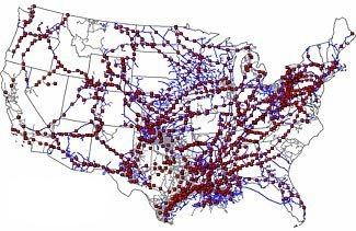 The red dots are pumping stations on our national gas pipelines.  The Chinese military may now have the capability to destroy a thousand of these simultaneously through only a few computer keystrokes. A full-out cyber-attack would destroy just about everything we need to survive – energy, water, food, sewer, communications, you name it.  Such an attack, from start to finish, would take less than 5 minutes, & would have no prior warning at all. Be prepared. Be very prepared. (Code Green Prep)